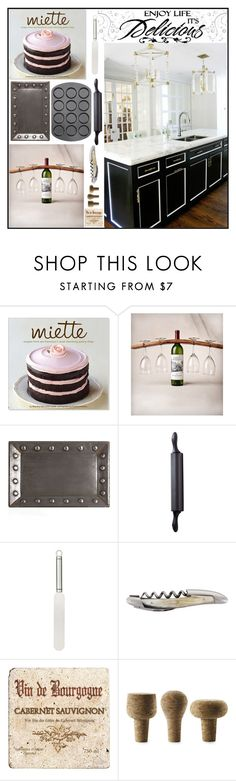 """""""Enjoy Life It's Delicious"""" by loveartrecyclekardstock ❤ liked on Polyvore featuring interior, interiors, interior design, home, home decor, interior decorating, Sur La Table, WALL, Arteriors and Wilton"""
