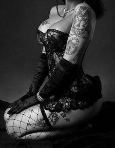 Sexy ham with fishnets tattoo