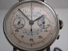 : Vintage chronographs: Mathey-Tissot chronograph with Lemania Watch Room, Automatic Watch, Vintage Watches, Chronograph, Clocks, Fingers, 1940s, Watches For Men, Arms