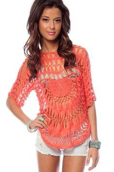 Sunset Crochet Sweater in Coral