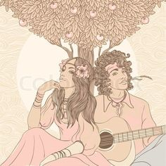 Illustration about Couple of a hippy on a sunny afternoon, vector illustration. Illustration of guitar, dream, harmony - 22870861 Hippie Peace, Hippie Love, Hippie Gypsy, Gypsy Soul, Fall Playlist, Hippie Couple, Modern Day Hippie, Tumblr Love, Scary Mommy