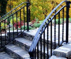 railings for stairs exterior | Outdoor Wrought Iron Railings | balusterandbalustrade.com