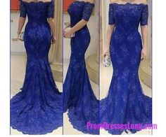 Royal Blue Prom Dresses,Lace Evening Dress,Long Prom Dress,Prom Dresses With Half Sleeves,Charming Prom Gown,Modest Prom Dress,Mermaid Fashion Evening Gowns for Teens MT20184149