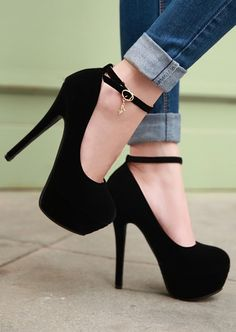 Suede Buckle Design High Heels Shoes