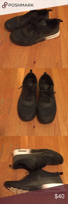 Nike air max Thea All black upper with black to white fade soles. Nike Shoes Athletic Shoes