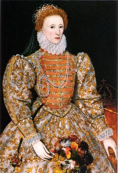 """The """"Darnley Portrait"""" of Elizabeth I of England. It was named after a previous owner. Probably painted from life, this portrait is the source of the face pattern called """"The Mask of Youth"""" which would be used for authorized portraits of Elizabeth for decades to come. Recent research has shown the colours have faded. The oranges and browns would have been crimson red in Elizabeth's time."""