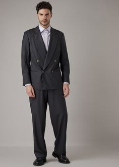 Fine materials and design for this Double Breasted Heritage Suit In Pinstriped Gabardine by Giorgio Armani Men. Take a look at the official online store now. Giorgio Armani, Emporio Armani, Armani Suits, Armani Men, Tuxedo Suit, Tuxedo For Men, Cashmere Suit, Slim Fit Jackets, Double Breasted Jacket