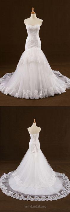 Mermaid Wedding Dresses, Sweetheart Wedding Dresses, Lace Wedding Dresses, White Bridal Gowns, Long Bridal Dresses