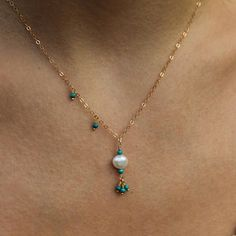 delicate pearl and turquoise necklace layering necklace Elle Taylor, Tassel Necklace, Turquoise Necklace, Layering, Delicate, Pearls, Chain, Sterling Silver, Jewelry
