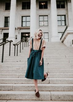 Broadly smiling lobbed lemonette in blush tee, aqua overall skirt, mocha flats Mode Style, Style Me, Mode Pop, Overall Skirt, Look Fashion, Womens Fashion, Mode Outfits, Skirt Outfits, Fashion Outfits
