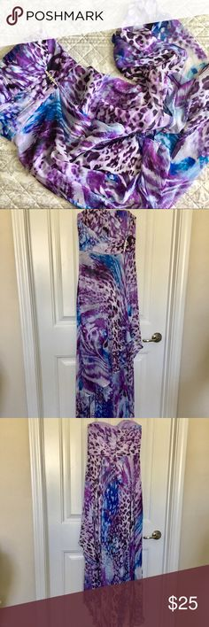 Jump apparel floor length dress GUD. May have been used once or twice. No holes/ rips. Strapless. Long sheer outer layers. Lining stops above knees. Darling colorful butterfly 🦋 dress. Zip back. Hi-lo. Jeweled detail on front. Measurements and more pictures available upon request. Please see all pictures and ask questions before purchase. **used items may show slight wear from normal use** feel free to use the offer button. JUMP apparel Dresses Strapless