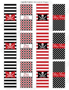 INSTANT DOWNLOAD diy Pirate Birthday Party  PRINTABLE Mini Candy Bar Wrappers red black favors treats sculls ship via Etsy