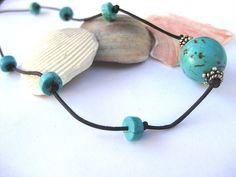 Turquoise leather necklace or wrap bracelet by SunshineDaydreamz