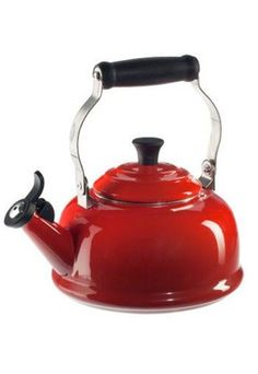 Classic Whistling Tea Kettle by Le Creuset, a foundry that started in 1924 by creating cookware with brilliant colors & enamel exteriors. Kettles come in five charming innovative designs & have locking handles with phenolic knobs that make lifting, pouring & cleaning easy / http:/ lecreuset.ca/