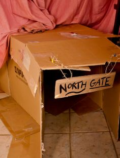 Entrance to cardboard fort on http://www.surpriseaholic.com