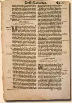 1539 Great Bible First Edition Leaf:  a Page from the First Bible Ever Authorized for Public Use by the Church of England (King Henry VIII's Bible) - Available at:  GREATSITE.COM