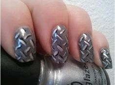 Diamond plate nails. I love these!