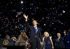 The winner: The President went on stage hours before the overall popular vote had been tabulated, but after Mitt Romney had called in his concession and given his speech