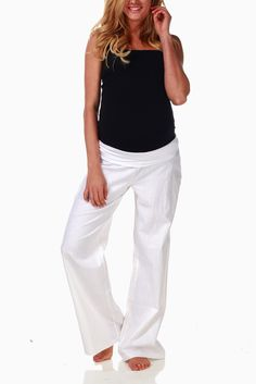 White-Linen-Maternity-Pants #whitepants #cutematernityclothes