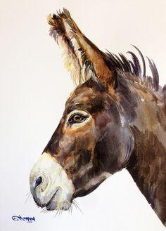 ORIGINAL WATERCOLOR PAINTING Donkey Portrait от alisiasilverART