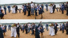 Wedding guests throw birdseed instead of rice at the bride and groom as they make their grand entrance up the beach to the reception on the shore Square Pond.