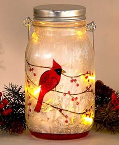 painted mason jars Embrace the beauty of the winter season with these Frosted Glass LED Jars. This jar is the perfect addition to your holiday decor. Five inner LED lights on a string illuminate the frosted finis Christmas Mason Jars, Christmas Candles, Christmas Decorations, Winter Christmas, Holiday Decor, Christmas 2019, Christmas Ideas, Mason Jar Gifts, Mason Jar Diy