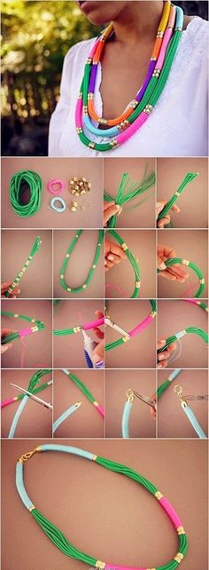 The best DIY projects & DIY ideas and tutorials: sewing, paper craft, DIY. Best DIY Ideas Jewelry: 27 Useful Fashionable DIY Ideas, DIY Utility Rope Necklace -Read Jewelry Crafts, Handmade Jewelry, Oyin Handmade, Diy Collier, Rope Necklace, Necklaces, Diy Ethnic Necklace, Necklace Ideas, Yarns