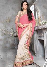 Superb Jacquard Peach Designer Saree