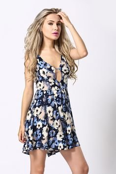 FREE SHIPPING Women Sexy Sleeveless V Neck Floral Print Prom Skater Dress on Luulla