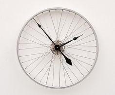 Cage Free Work-Space: Your office has to have a clock, but keep it interesting and evocative to make sure interns are meeting deadlines.  (Recycled Bike Wheel clock)