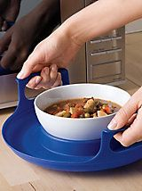 Protect your fingers and hands when lifting hot dishes out of the microwave. Stay-cool pad and handles make it safe and easy to lift hot plates and bowls. Adaptive Equipment, Adaptive Sports, Aging In Place, Kitchen Equipment, Cooking Equipment, Assistive Technology, Elderly Care, Plates And Bowls, Cooking Tools