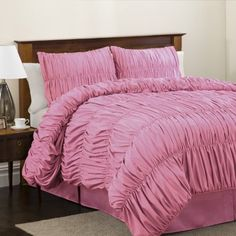(Click to order - $84.99) Lush Decor Venetian 3-Piece Comforter Set, Twin, Pink From Lush Decor