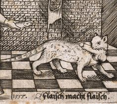 cat and prey (not medieval this time) 'Flaisch macht Flaisch', German woodcut, 1555.