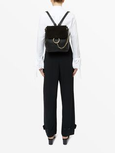 Chloé Medium Faye backpack in suede and leather Image 3