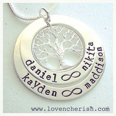 Sterling Silver 2 Layer Family Tree pendant handstamped and personalised just for you. Design yours now at www.lovencherish.com