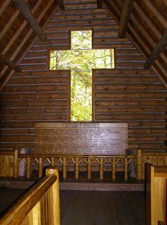 Log Cabin Church Window Cross ~ Hartwick Pines State Park Trees