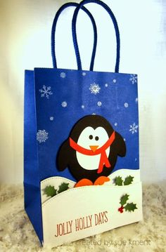 Sue's Stamping Stuff Penguin gift bag-cut with my Silhouette