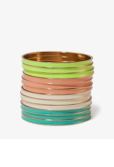 Multi-Colored Lacquered Bangle Set | FOREVER21