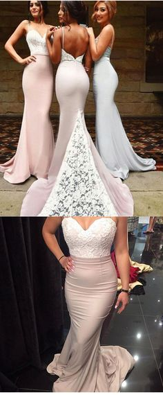 Sexy bridesmaids dresses, Mermaid bridesmaid dresses,Spaghetti Long Bridesmaid Dress with Train,lace bridesmaid gown,lace wedding party dresses