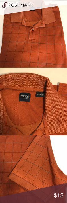 Men's orange grid polo Good condition Shirts Polos