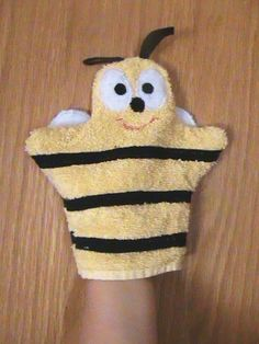 Bee Bath Mitt / Washcloth Cotton Original Handmade Eco by BabynMe, $10.00