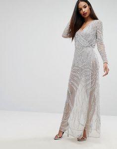 Starlet Embellished Wrap Maxi Dress