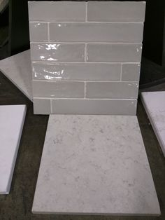 Agora Piastrella Sage Ceramic Backsplash, Hanstone Aspen Quartz Slab