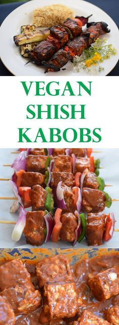 Vegan Shish Kabobs – Lebanese Shish Taouk These vegan shish kabobs are made with tempeh and tofu in a Lebanese style tomato based marinade and the results are a pita full of plant goodness. Veggie Recipes, Whole Food Recipes, Vegetarian Recipes, Cooking Recipes, Healthy Recipes, Vegetarian Kabobs, Vegan Kabobs, Vegan Grill Recipes, Vegan Barbecue