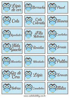 Etiquetas para organizar material escolar tema Corujinha