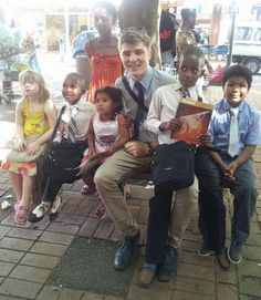 Saturday street witnessing : Jordan with the children from City Group, Pietermaritzburg, South Africa