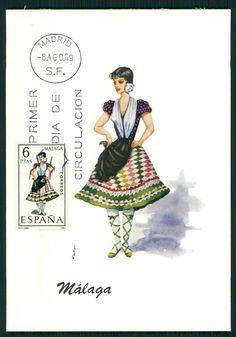 Malaga Spain Lady woman Ethnic Dress Maxi card maximum postcard 1967 a08
