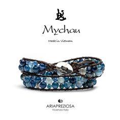 Bracciale Mychau Vietnam Son La originale realizzato con pietre naturali AGATA BLU STRIATA su base bracciale colore Testa di Moro.