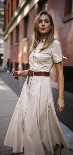 Casual Friday Workwear Outfit // Khaki short sleeve button down midi dress, brown waist belt, cat eye sunglasses, tan heeled sandals, wicker straw box bag {Theory, Veronica Beard, Summer style, workwear, classic style, summer work outfit, office appropriate, fashion blogger}