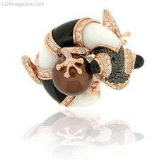 BLACK & WHITE LIZARD RING from Zorab Atelier De Creation-USA Gallery